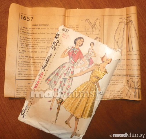 dress pattern envelope from 1956