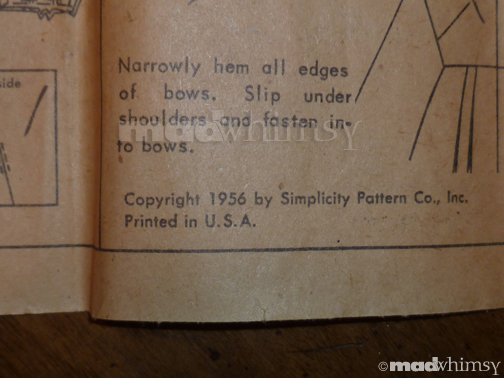 pattern instructions showing date
