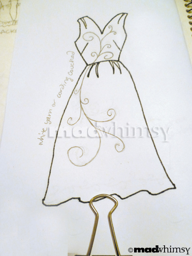 illustration of a swirly design on a drawing of the dress