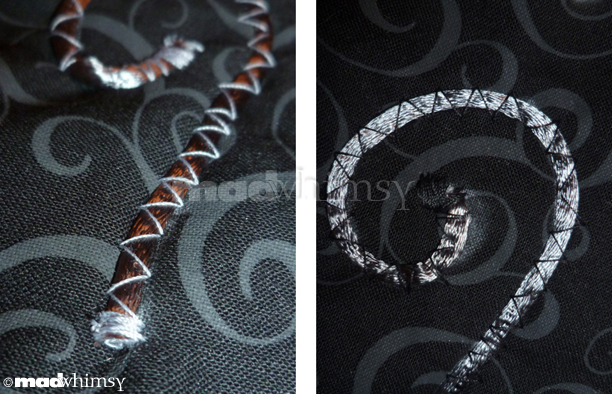 satin rattail cord stitched onto the dress with black and with white thread